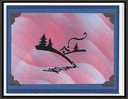 This card was created using airbrush and the stamp, Winter Cabin.