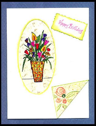 Happy Birthday card with Flower Basket in oval cut-out.