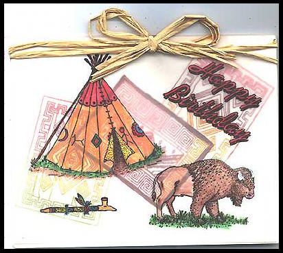 Happy Birthday Card With Teepee Buffalo Stamps Galore
