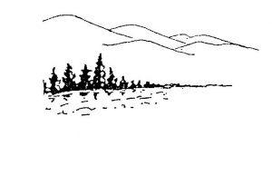Scan lake, trees, mtns.