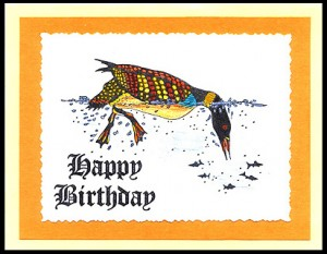 This card uses the Loon Fishing with yellow and red coloring, artist's priviledge.