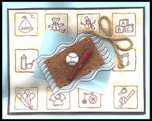 """This card was created by using 10 different """"baby"""" stamps."""