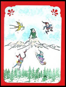 Brownies are playing in the snow in this card.