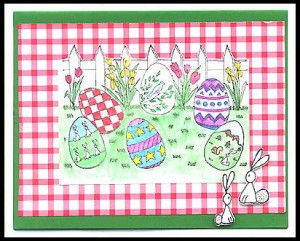 This card was created using the Easter Egg Scene and Three Bunnies stamps.