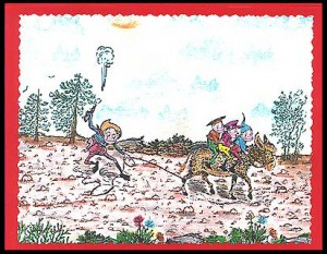 Brownies are riding burro that is roped by Cowboy.