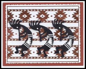 This card was made using Kokopelli #8, Med. and Southwest Blanket stamps.