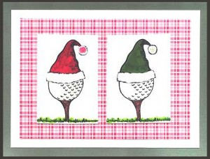 This card was created using two Golf Ball Santa Images, one with a red hat and one with a green hat.