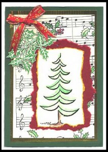 This holiday season card was created using Modern Christmas Tree, Holly Sprigs and Musical Background.