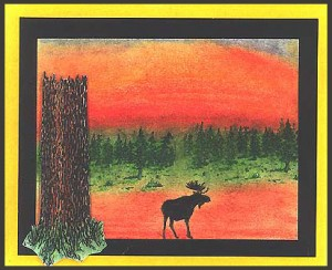 The focus point of this card is the Tree Trunk and the Moose Silhouette stamps.