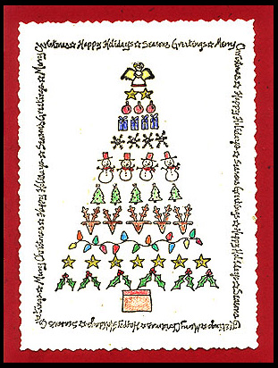This card was created using the Collage Christmas Tree and Christmas Greetings Frame.