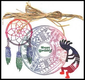 This card was created using Navajo Design, Dream Catcher and Kokopelli stamps.