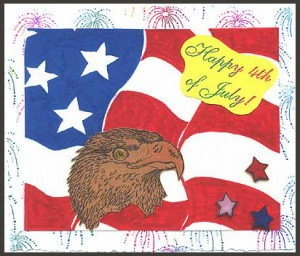 This card was created using Fireworks to make the background, then the Furling Flag Background and Eagle's Head.