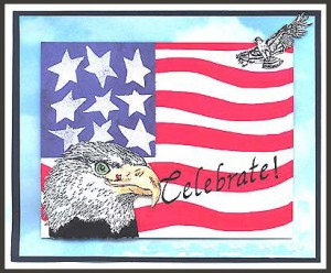 This card was created by superimposing Eagle's Head and Eagle, Sm. over hand drawn flag.