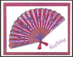 This card was created by stamping with Rose Fan, Lg. and Happy Birthday.