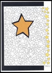 This card was created using the Star Background with a single cut out star as accent.