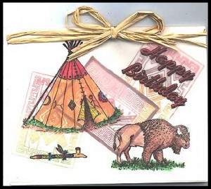 This card was made using several Indian stamps and Happy Birthday stamp.